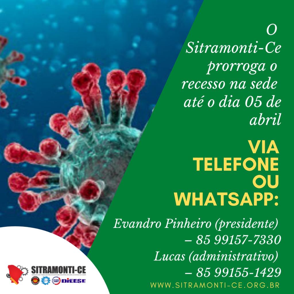 Sitramonti-Ce prorroga recesso das atividades na sede até o dia 05 de abril